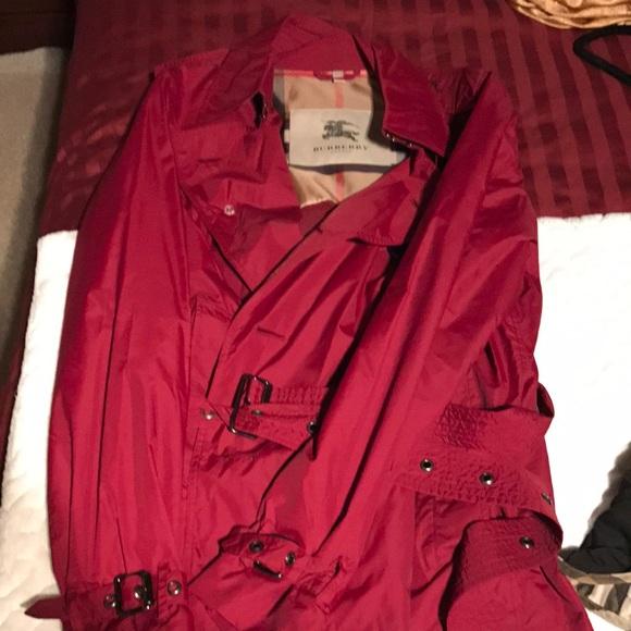 Maroon/Burgundy Burberry Rain Coat.